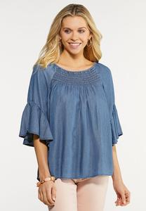 Plus Size Smocked Chambray Top