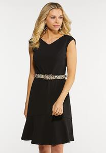 Plus Size Flounced Belted Dress