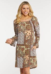 Paisley Peasant Dress
