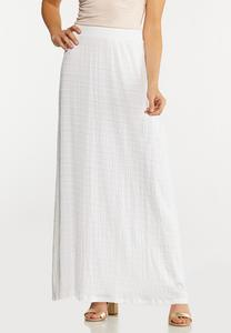 Plus Size Textured White Maxi Skirt