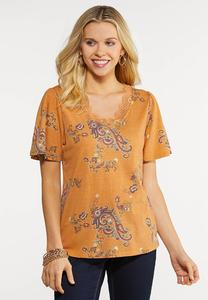 Plus Size Paisley Lace Trim Tee