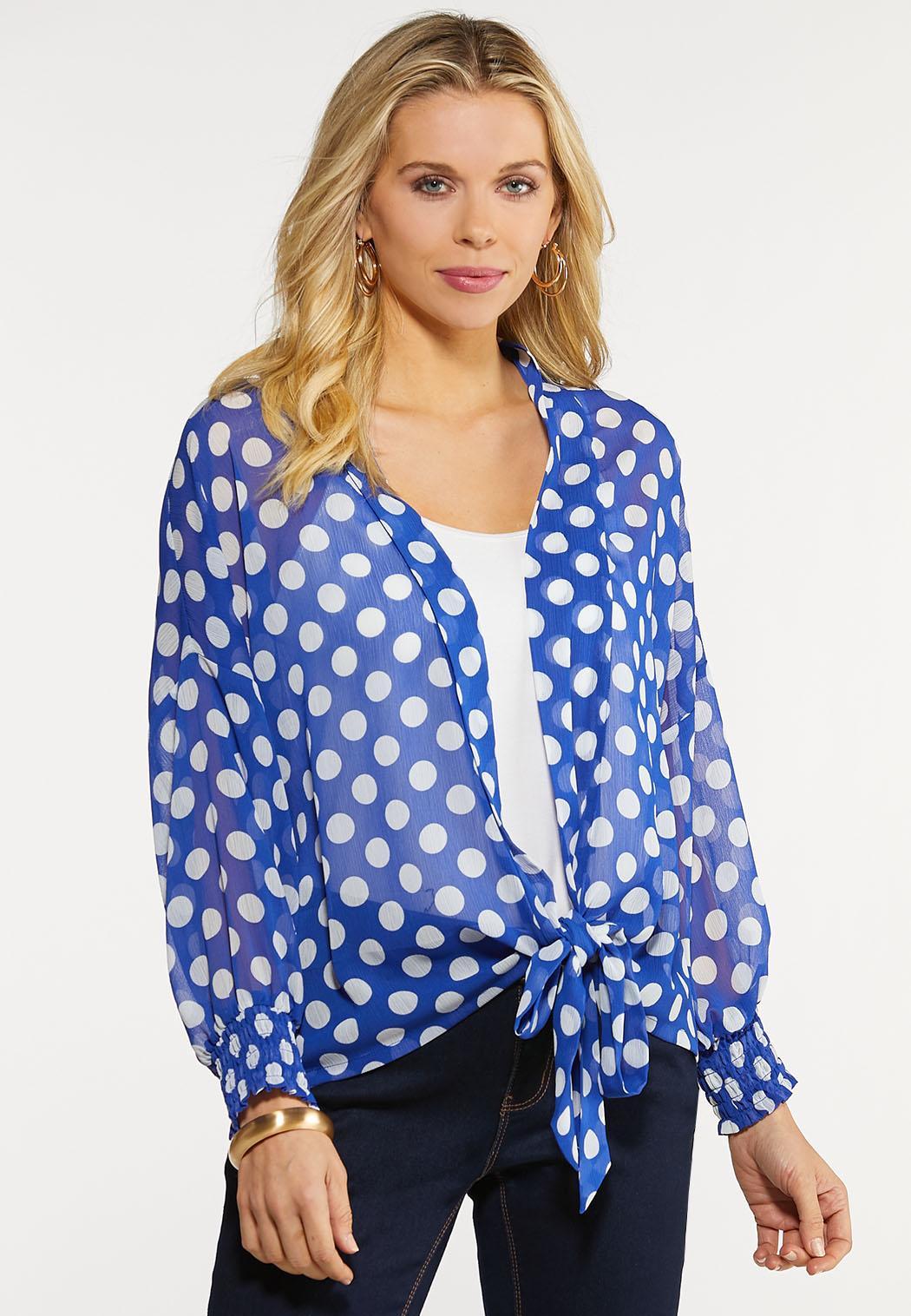 Plus Size Polka Dot Kimono Top