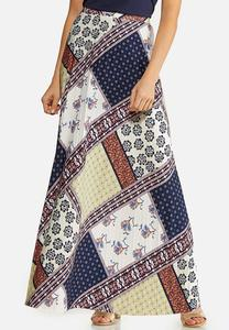 Plus Size Navy Patchwork Maxi Skirt