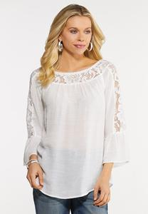 Plus Size Lacy White Crepe Top