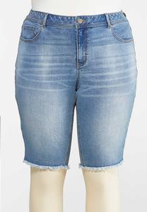 Plus Size Frayed Denim Shorts