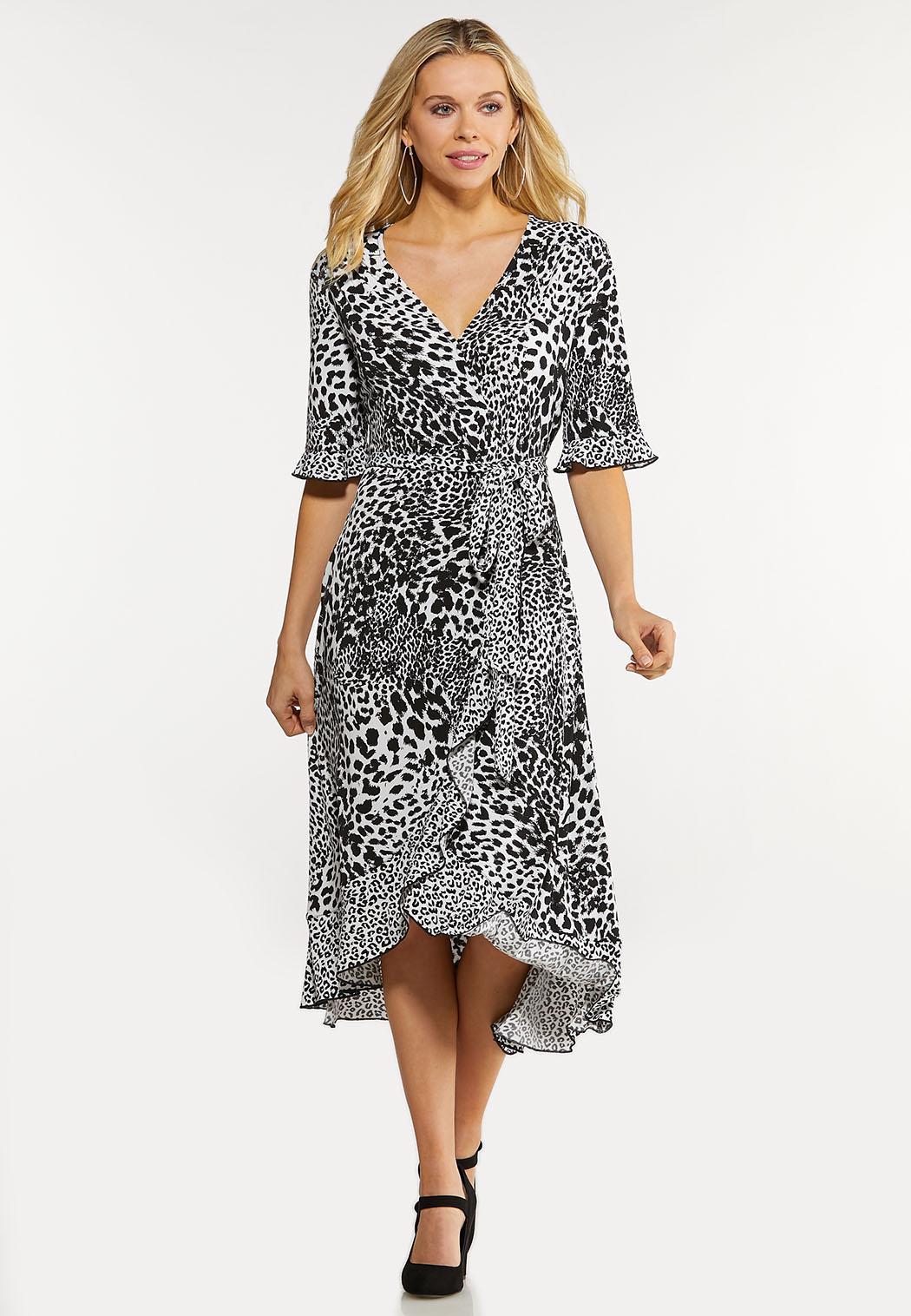 Plus Size Animal Wrap Dress