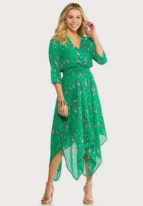 Plus Size Floral Hanky Hem Dress
