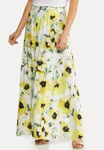 Plus Size Floral Pleated Skirt