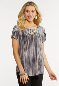 Plus Size Keyhole Stripe Top