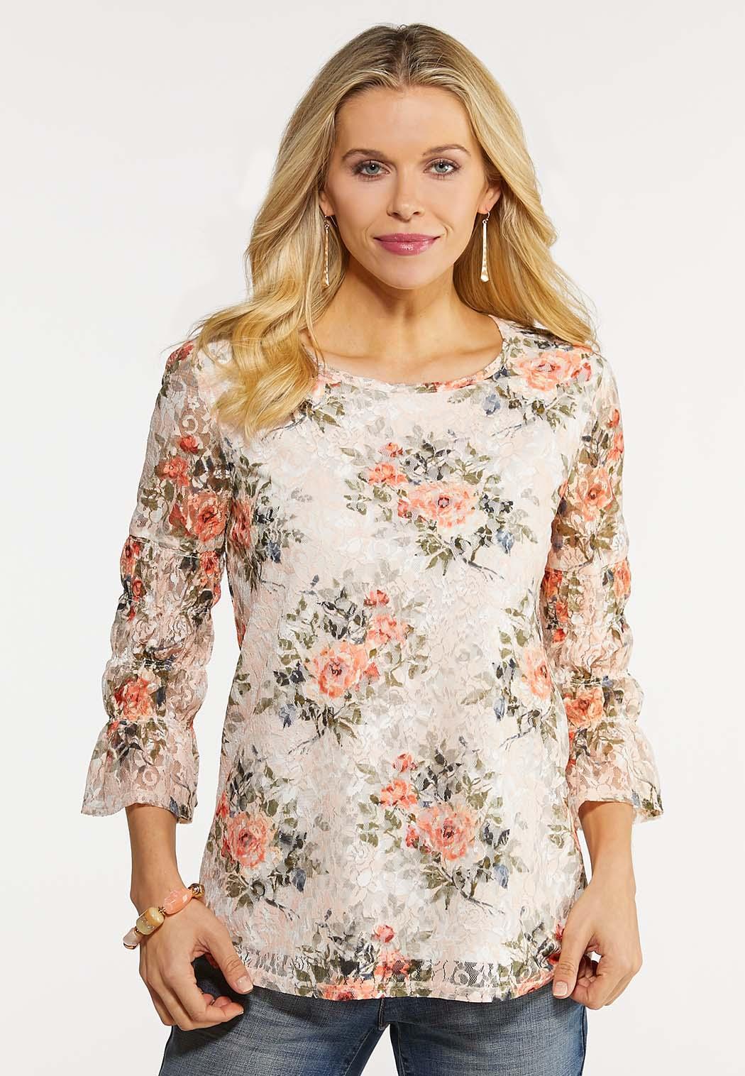 Plus Size Garden Floral Lace Top