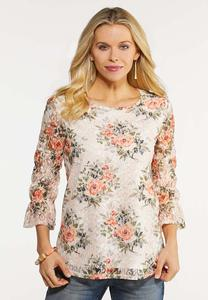 Plus Size Garden Floral Lace Top