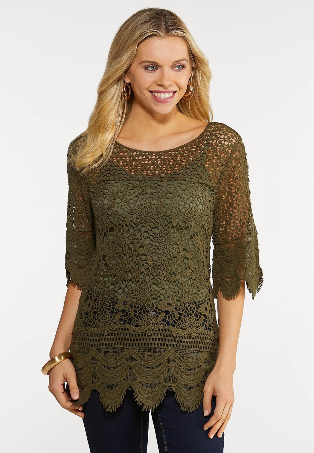 Olive Crochet Top
