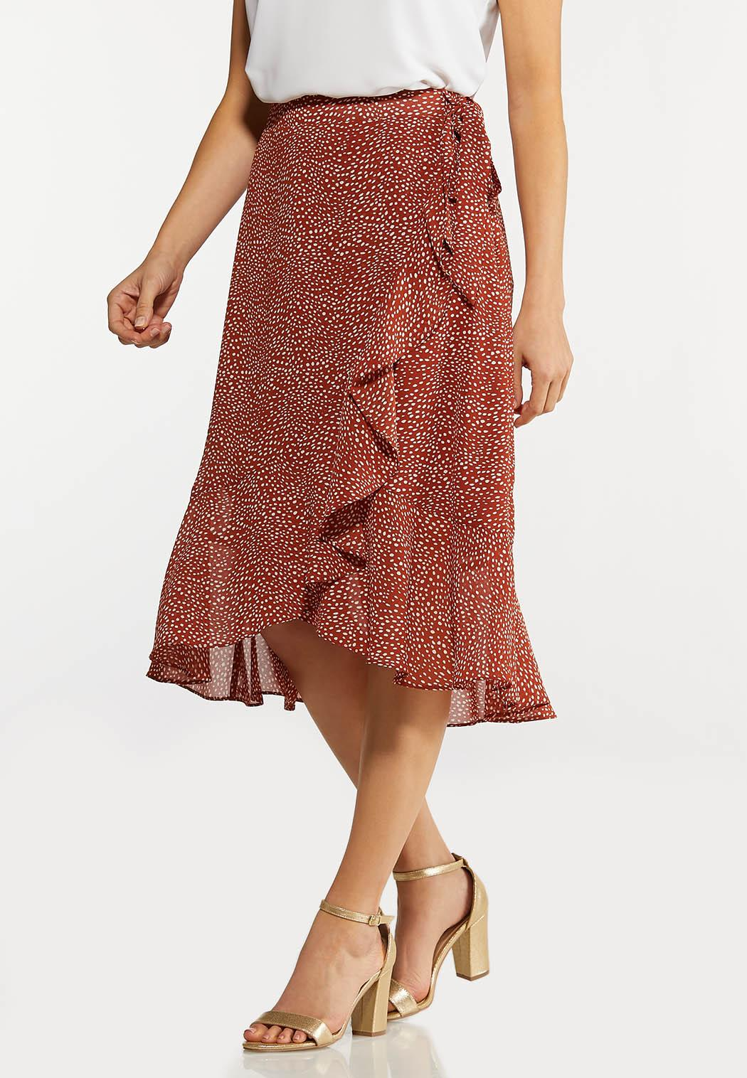 Plus Size Dotted Ruffled Wrap Skirt