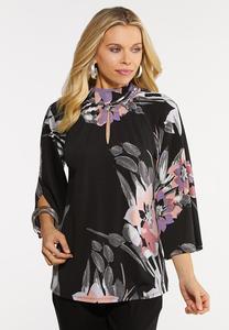 Plus Size Floral Mock Neck Top