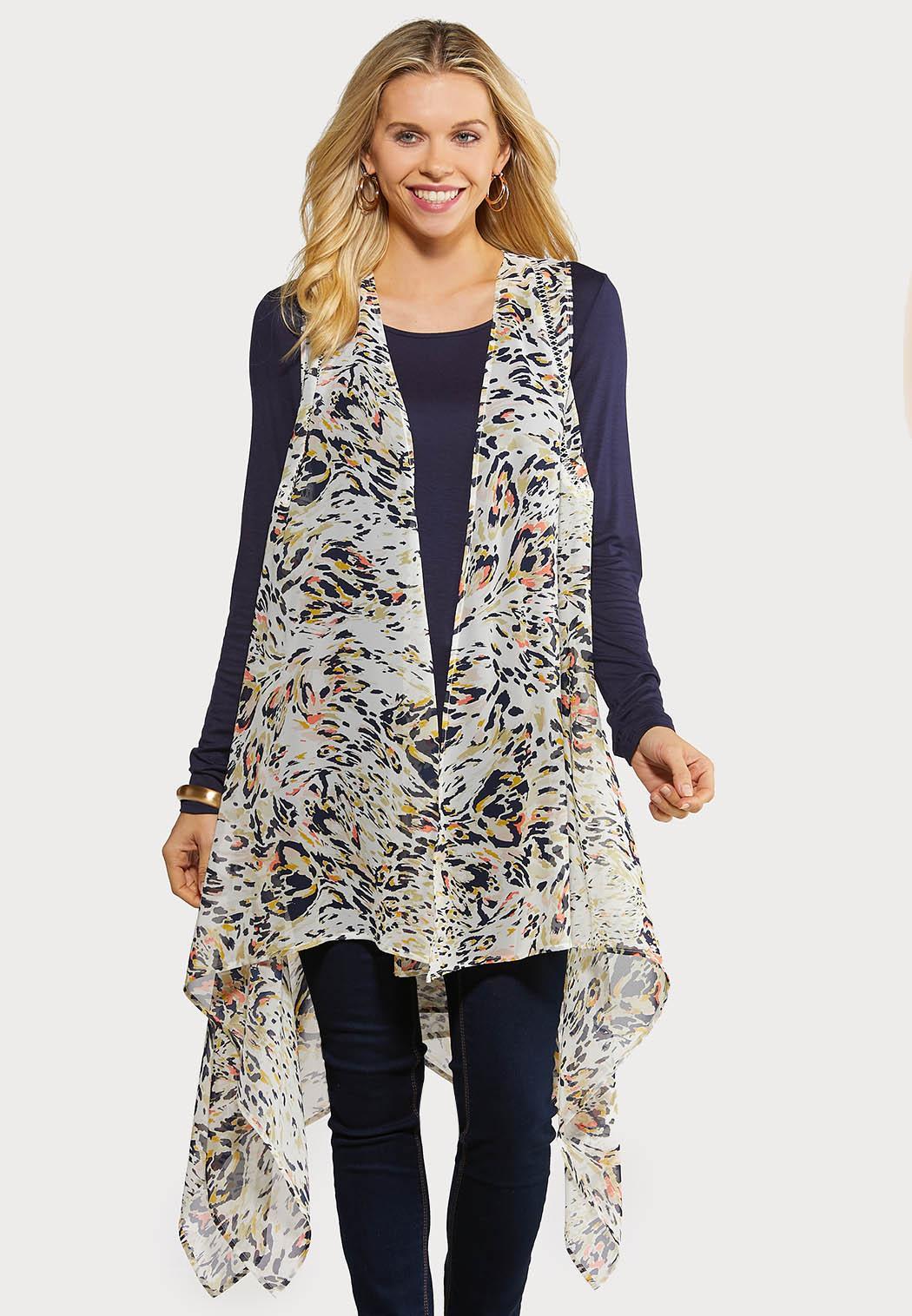 Plus Size Sheer Animal Print Vest