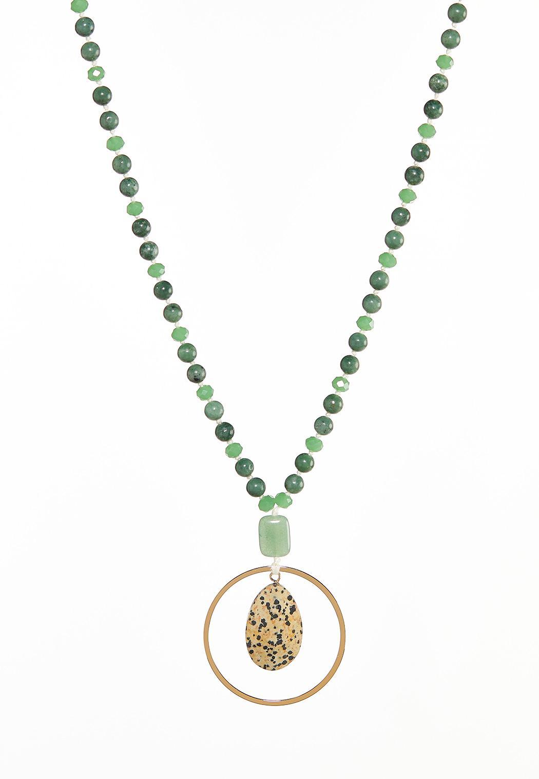 Semi-Precious Ring Pendant Necklace
