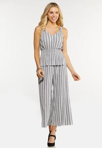 Plus Size Pleated Stripe Pant Set