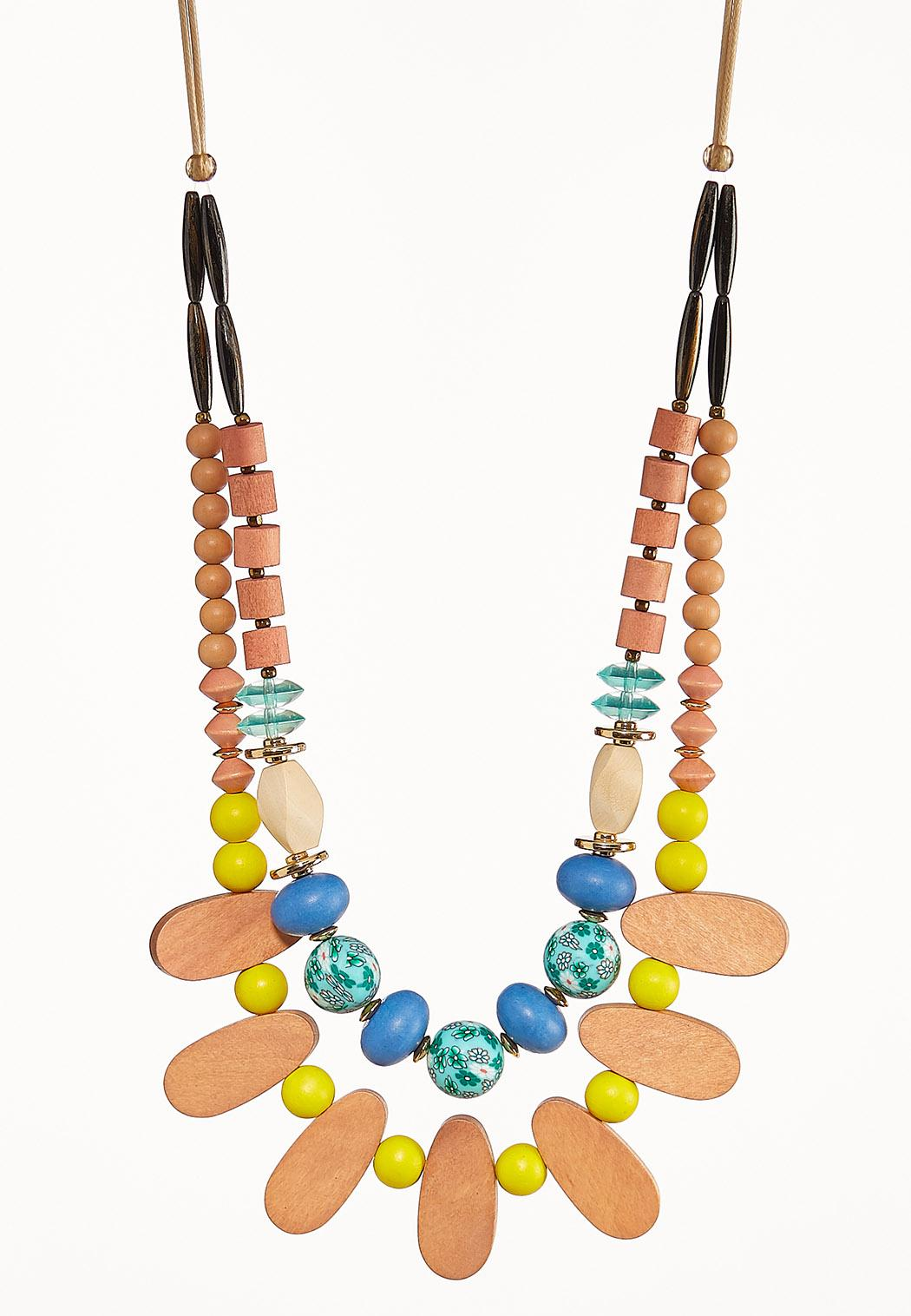Mixed Wood Bib Necklace