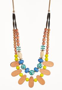Mixed Wood Bib Necklace