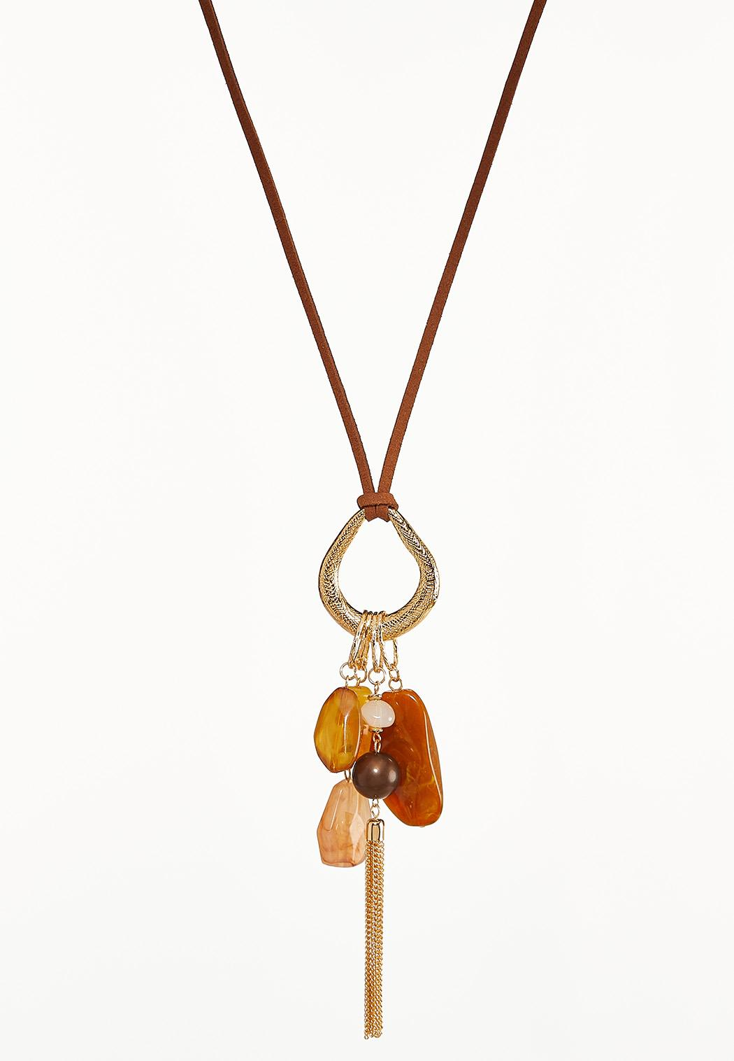 Cluster Pendant Tassel Necklace