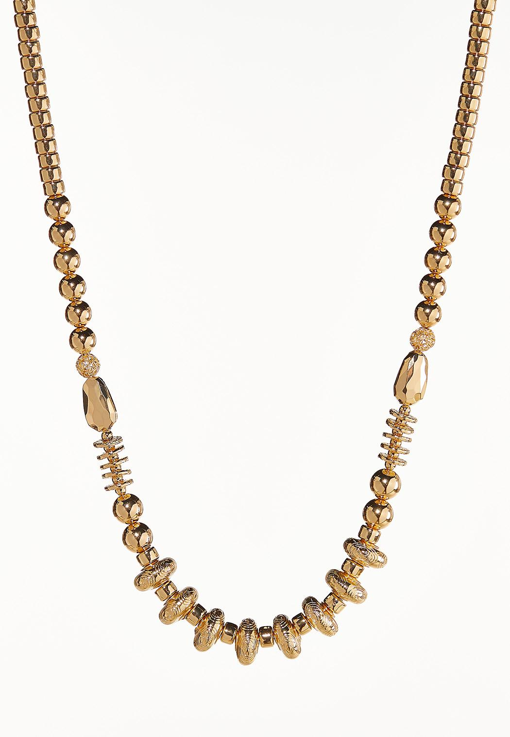 Gold Bead Long Necklace