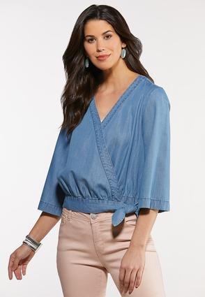 Plus Size Chambray Side Tie Top
