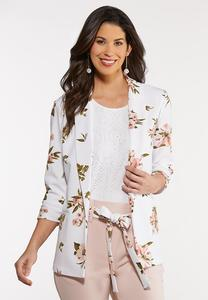 Plus Size Fresh Floral Blazer