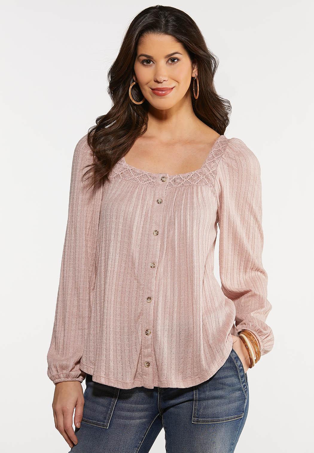 Plus Size Textured Lace Neck Top