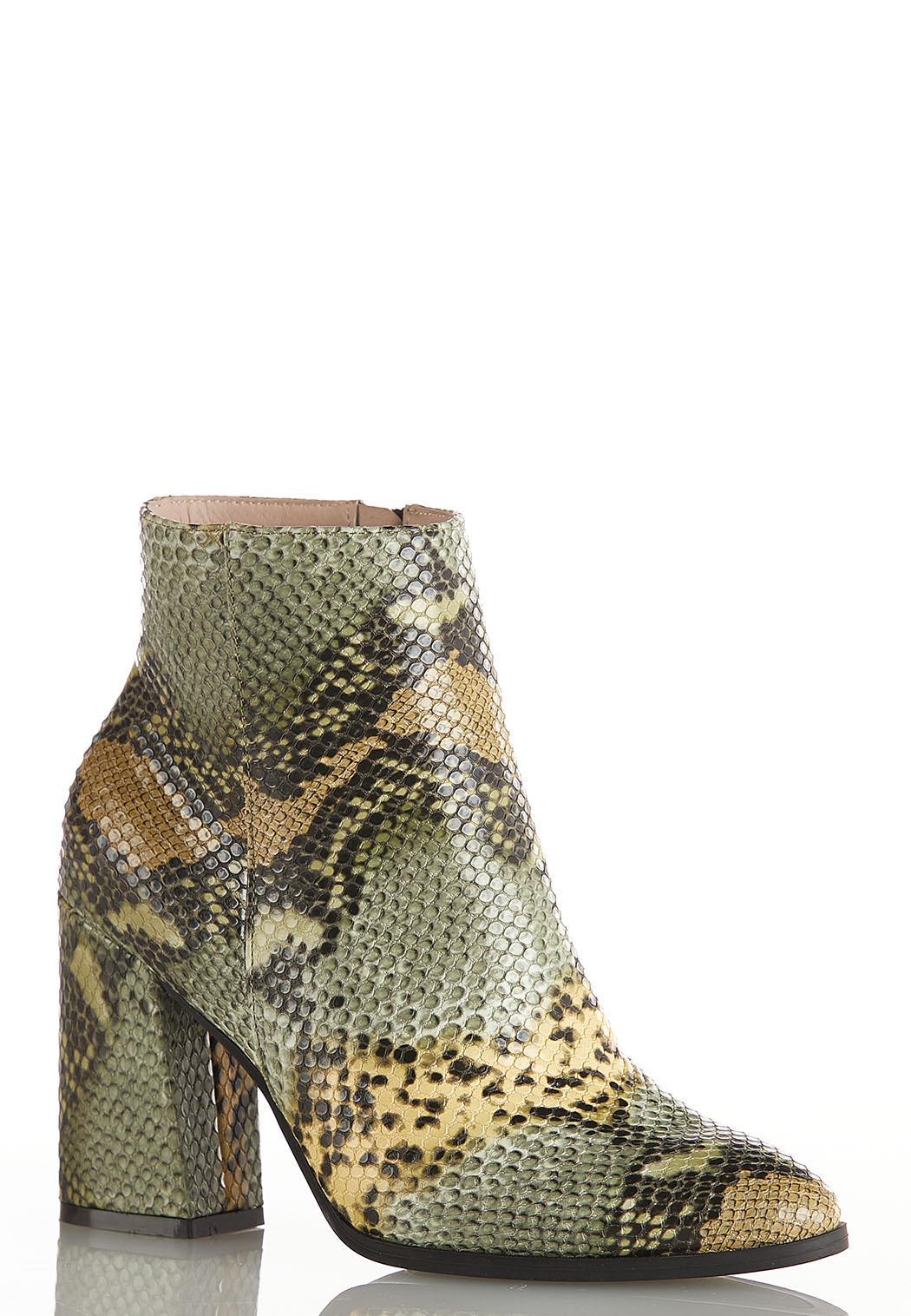 Wide Width Green Multi Snakeskin Boots
