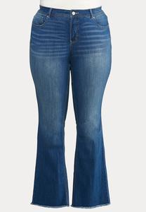 Plus Size Frayed Bootcut Jeans