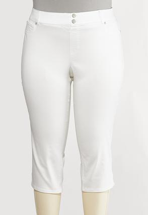 Plus Size Cropped White Skinny Jeans