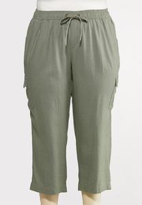 Plus Size Linen Crop Cargo Pants