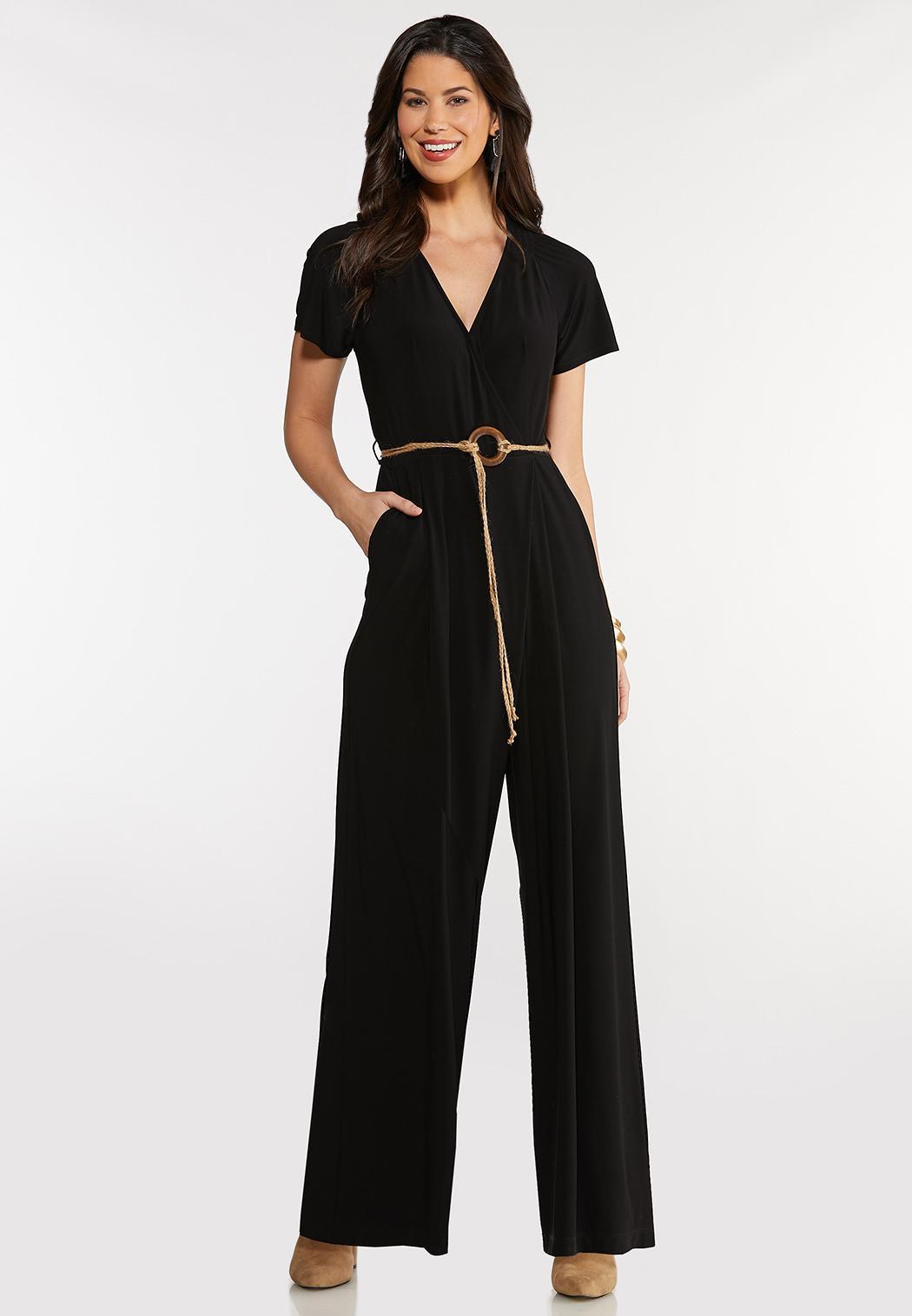 Smocked Belted Waist Jumpsuit