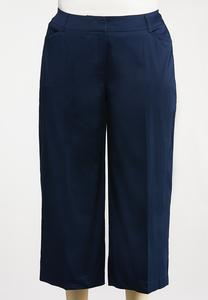 Plus Size Solid Cropped Sateen Pants