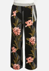 Plus Size Floral Jungle Stripe Pants