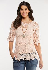 Pale Blush Crochet Top