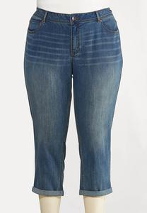 Plus Size Cropped Girlfriend Jeans