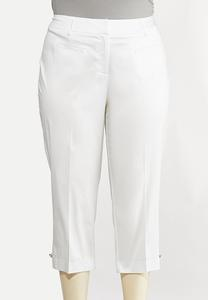 Plus Size Cropped Sateen Pants