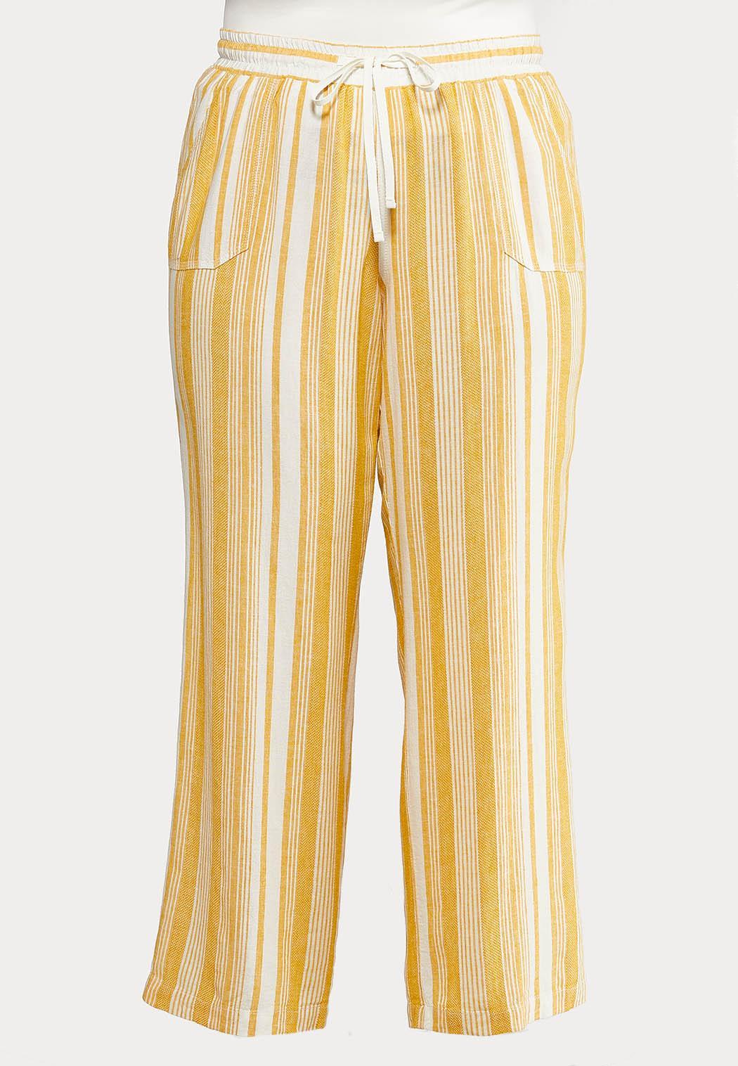 Plus Size Gold Stripe Linen Pants