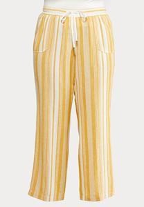 Plus Size Gold Stripe Linen Pants
