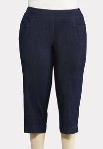 Plus Size Cropped Denim Pants