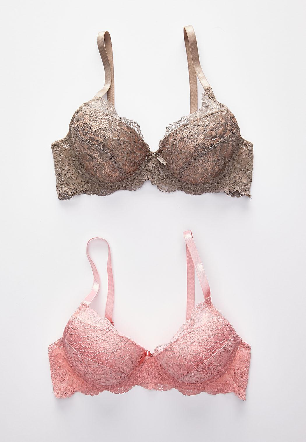 Pink And Taupe Lace Bra Set