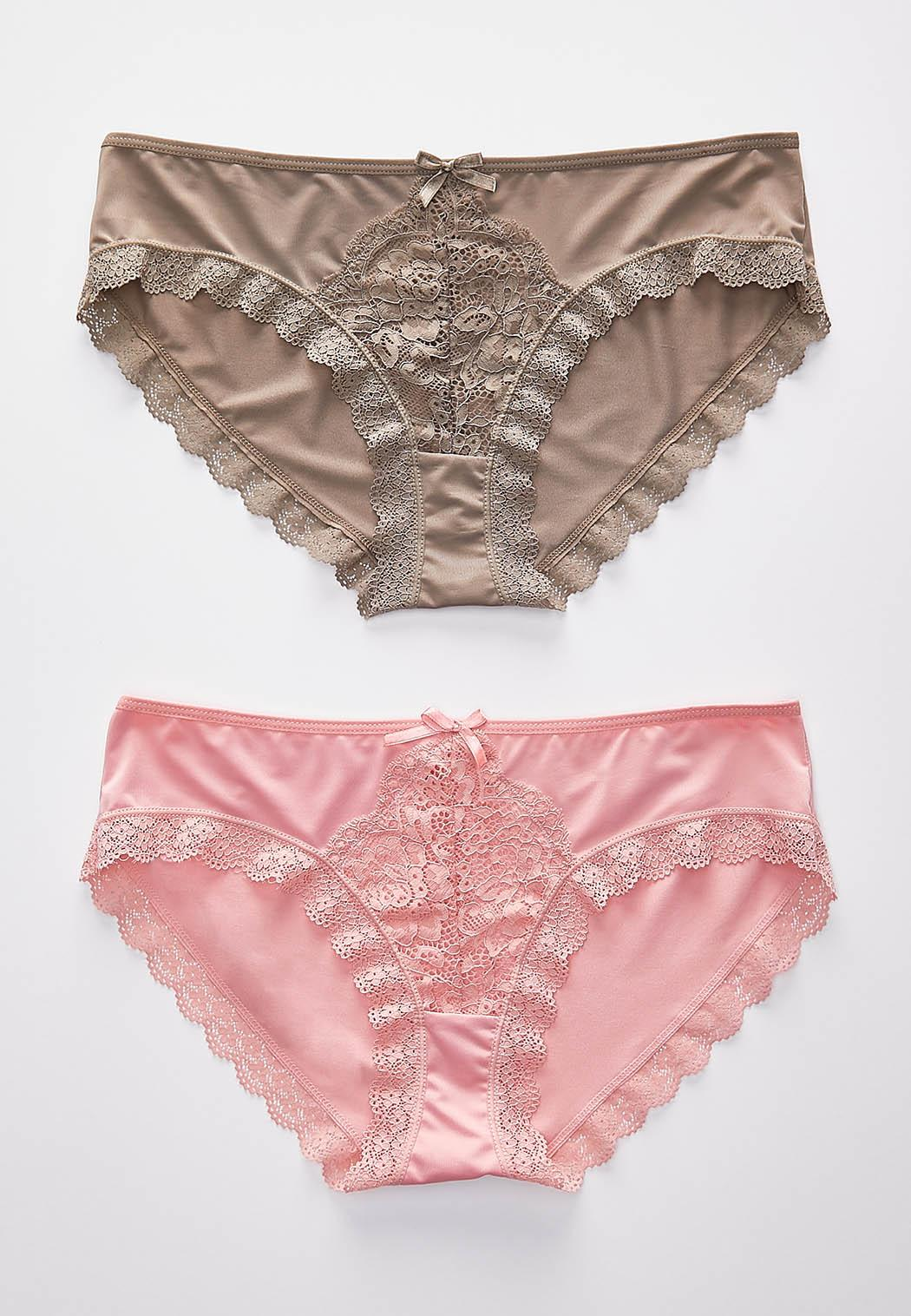 Pink And Taupe Lace Panty Set