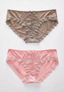Plus Size Pink And Taupe Lace Panty Set