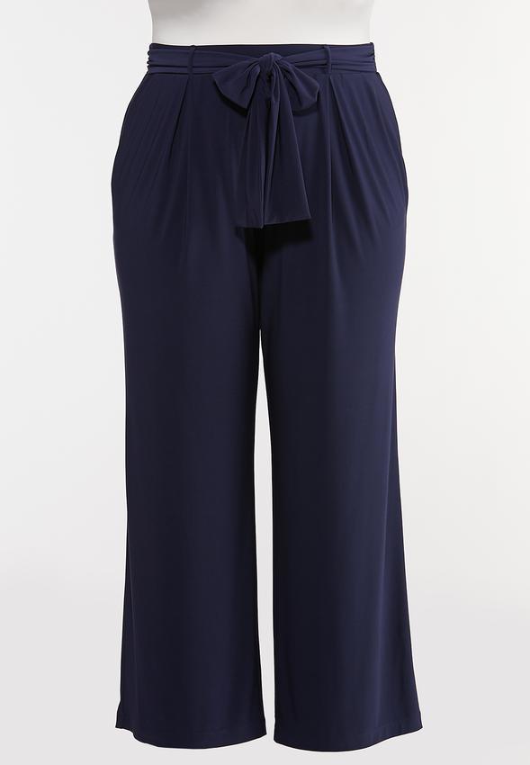 Plus Size Tie Front Palazzo Pants