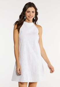 Plus Size White Eyelet Dress