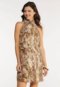 Plus Size Ruffled Animal Dress