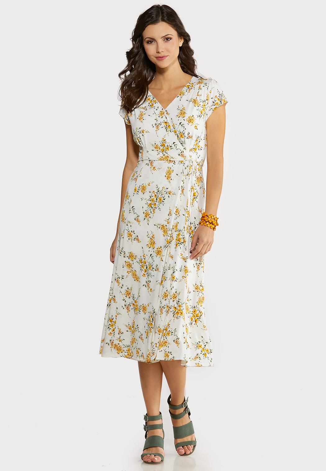 Golden Floral Midi Dress