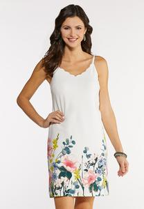 Scalloped Floral Slip Dress