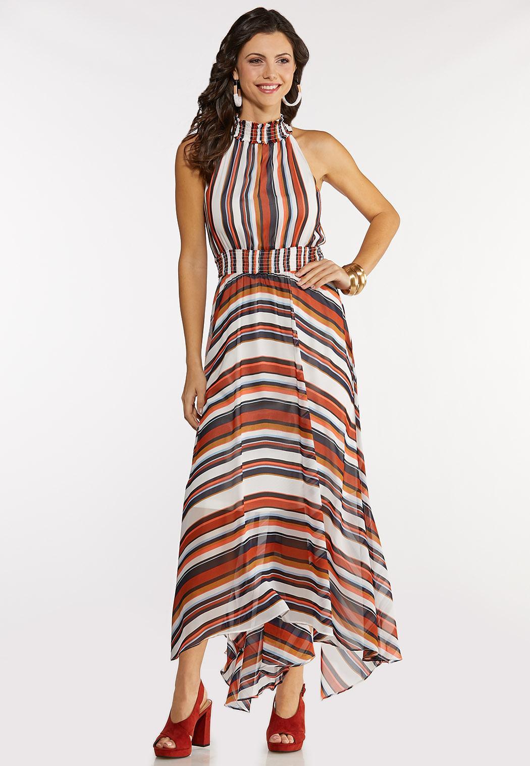Stripe High-Low Maxi Dress
